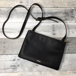 Fossil Sadie Black Pebbled Leather Crossbody Bag